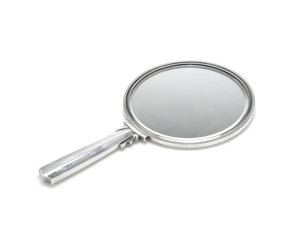 HARALD NIELSEN FOR GEORG JENSEN: A silver hand mirror, post 1945 mark, incuse mark DENMARK STERLING and pattern number 134A,