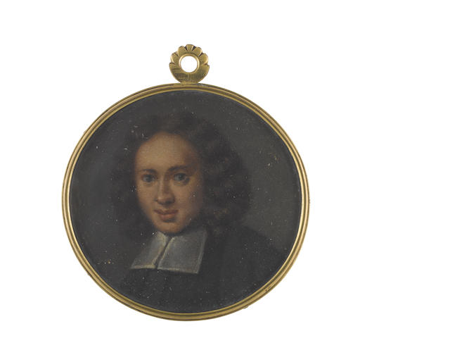 English School, circa 1700 A young Gentleman, wearing black cloak and white bands
