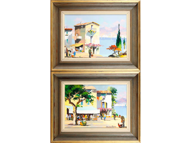 D'Oyly John (British, 1906-1993) Juan les Pins near Cannes and Nice; Along the Spanish Coast on the Costa Brava,