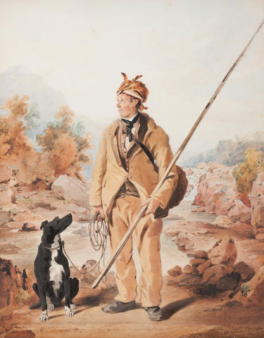 British School, 19th Century  A Ghillie with his dog beside the Falls of Tummel