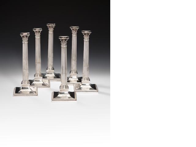 Six George III silver candlesticks, by Edward Wakelin, London 1760,  (6)