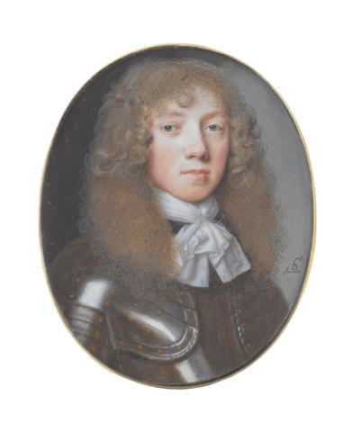 Samuel Cooper (British, 1609-1672) A young Gentleman, wearing armour with brass studs and twisted trim to the gardbrace and white lace edged cravat tied with a thin white thread