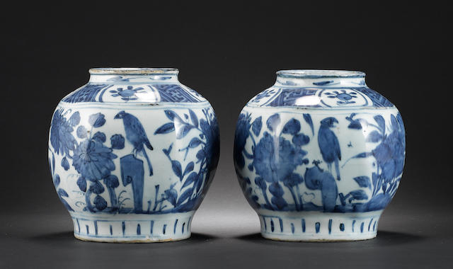 A pair of late Ming, blue and white vases; each one decorated with Natural History subjects