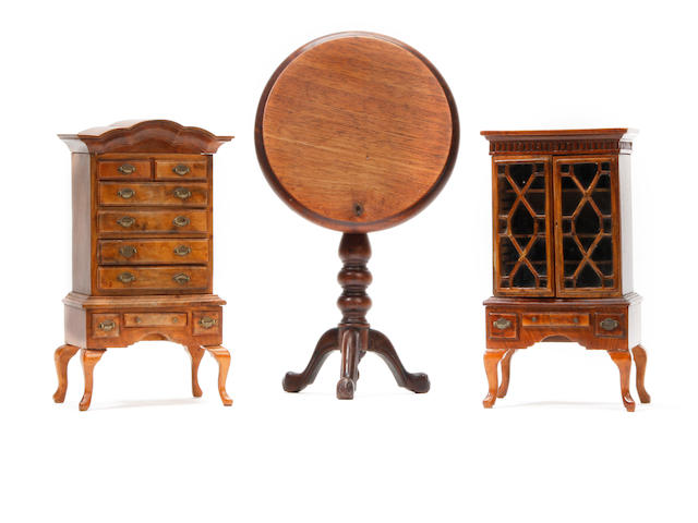 Three pieces of miniature furniture, to include one signed piece Early 20th Century