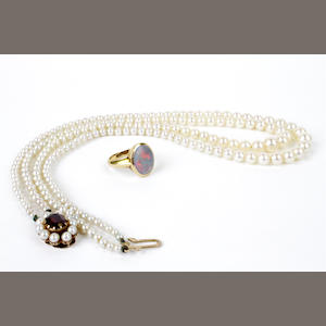 A graduated cultured pearl double row necklace (2)