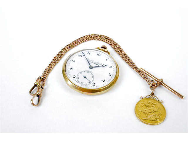 An 18 carat gold cased open face pocket watch (2)