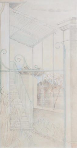 Paul Nash (British, 1889-1946) The Verandah, Cagnes 40.5 x 20.7 cm. (16 x 8 1/4 in.)