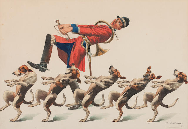 Charles-Fernand de Condamy (French, 1855-1913) Dancing huntsman and hounds