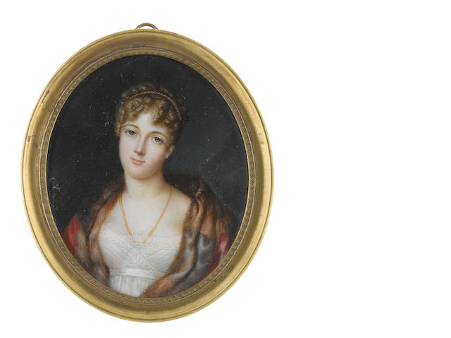 Louis Marie Autissier (French, 1772-1830) A Lady, wearing white dress with lace slip, crimson and fur cloak, double-stranded gold necklace, her blonde hair curled, upswept and dressed with gold braid