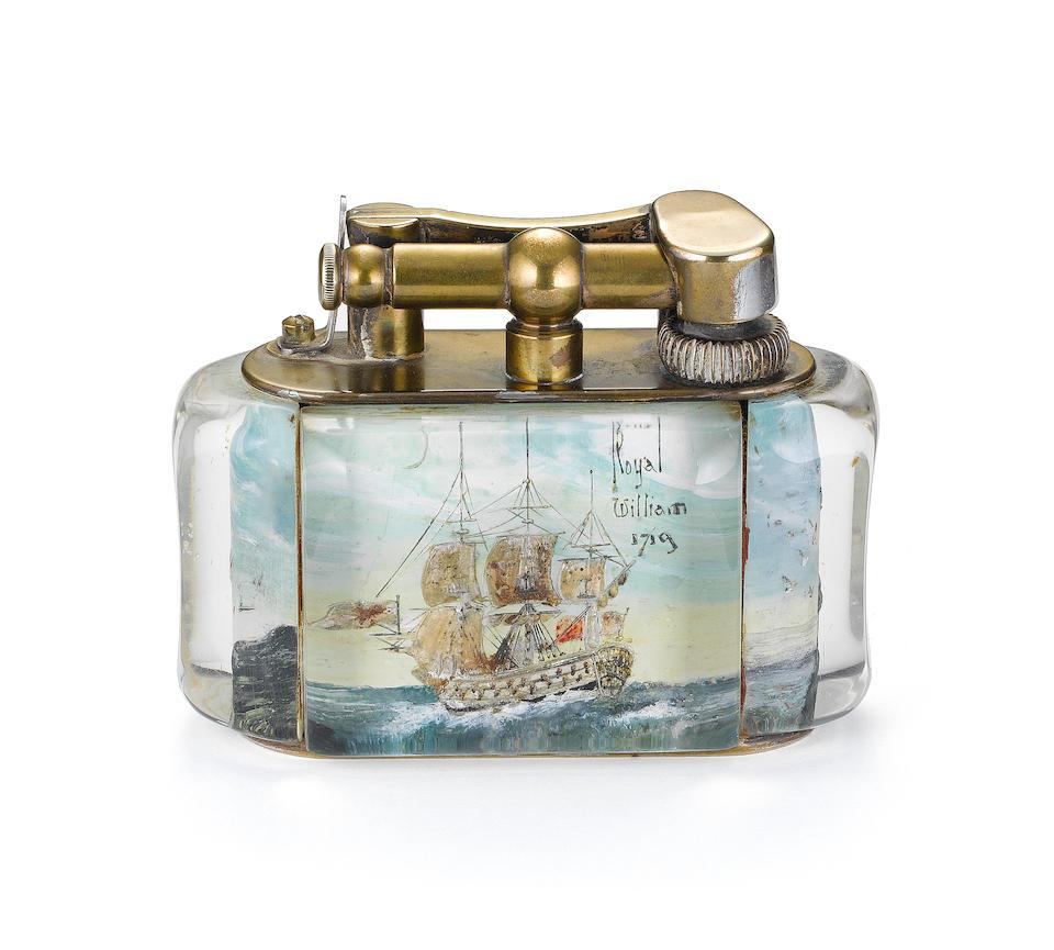 DUNHILL: A 'Galleon' Aquarium style lighter,