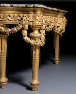 A North Italian late 18th century giltwood Neoclassical console table