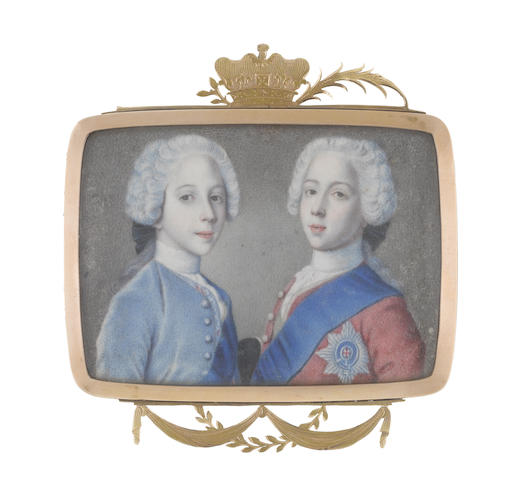 Circle of Jean Étienne Liotard (Swiss, 1702-1789) A double portrait of Princes Charles Edward Stuart (1720–1788) and Henry Benedict Stuart (1725–1807): the former, wearing red coat, white lace cravat and stock, blue sash and breast star of the Order of the Garter, the green sash of the Order of the Thistle visible under his coat; the latter, wearing pale blue coat, embroidered waistcoat, white lace cravat and stock, blue sash of the Order of the Garter, the green sash of the Order of the Thistle visible under his coat