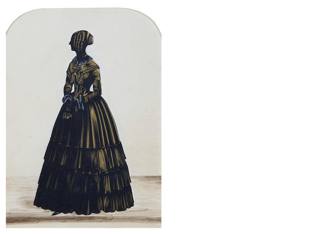 Royal Victoria Gallery (British, after 1837-circa 1854) A group of four silhouettes of Ladies, one, called, Ms Ellen Williamson Logan, all full-length, two profile to the left, two profile to the right, all wearing dresses, holding, a rose, a handkerchief, a parasol and an eye glass