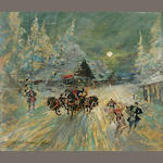 Konstantin Alexeevich Korovin (Russian, 1861-1939) A winter sledge ride 32.5 x 38.2cm (12 3/4 x 15in