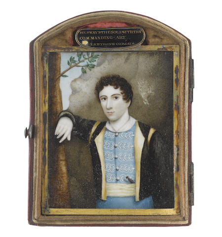 Italian School, 19th Century Lord George Gordon Byron, 6th Baron Byron, FRS (1788–1824), standing before a cliff, wearing sky blue breeches and doublet, the latter with white lace and buttons, white chemise, pale yellow cummerbund, black jacket with pale yellow lining and trim to the shoulders, the hilt of his dagger just visible at his left, his right arm propped up against a tree