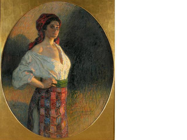 Nikolai Petrovich Bogdanov-Bel'sky (Russian, 1868-1945) A young sorceress 126 x 112cm (49 5/8 x 40 1