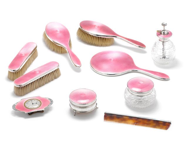 A ten-piece silver and enamelled backed dressing table set, by Albert Carter, Birmingham 1929,  (10)