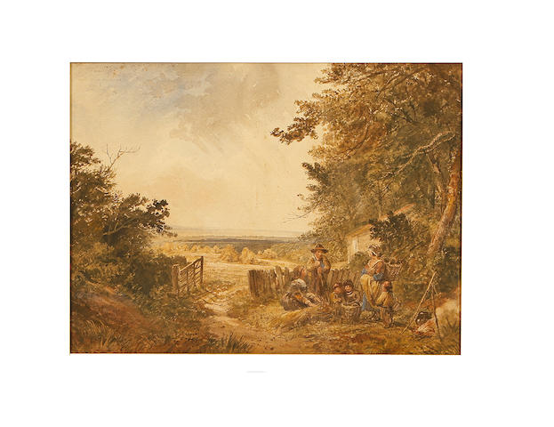 Follower of George Morland (British, 1763-1804) Rural scene with figures before a cottage
