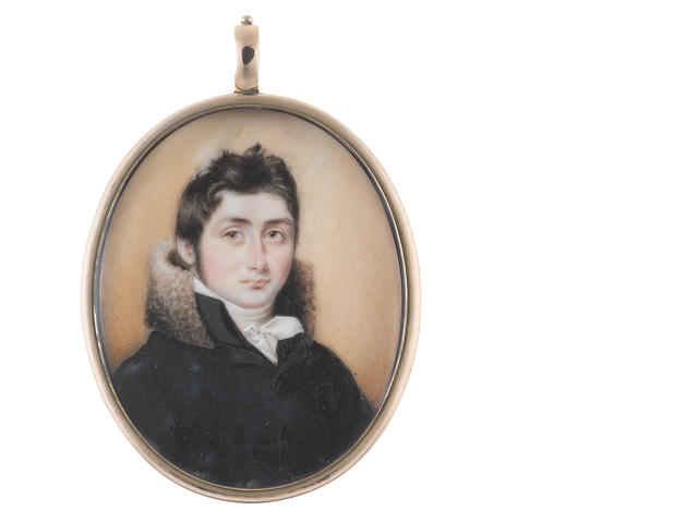 Attributed to William John  Newton (British, 1785-1869) A young Gentleman, wearing dark blue coat with standing fur collar, white chemise, stock and cravat