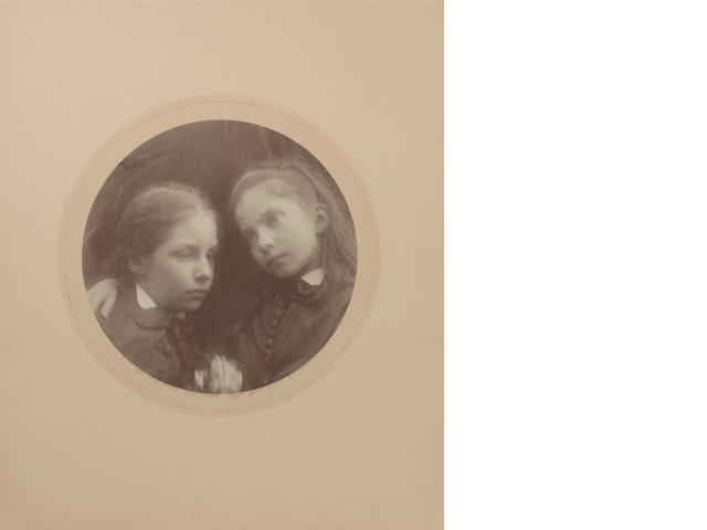 Julia Margaret Cameron (British, 1815-1879) Margaret and Adeline Norman, 1874 58.2 x 45.4cm (22 15/16 x 17 7/8in). Print is circular with diameter 27.5cm (10 13/16in).