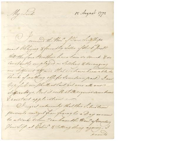 ADAM (ROBERT) Autograph letter signed, 1772