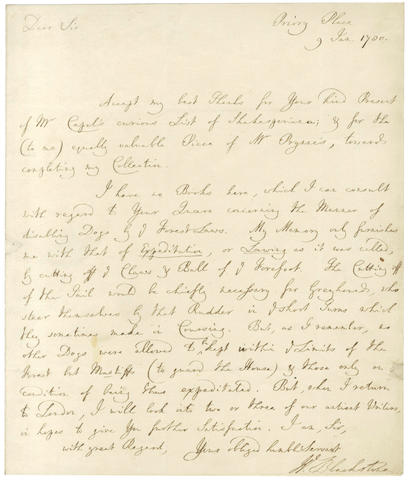 BLACKSTONE (WILLIAM) Autograph letter signed to the pioneering Shakespearean scholar George Steevens, 1780