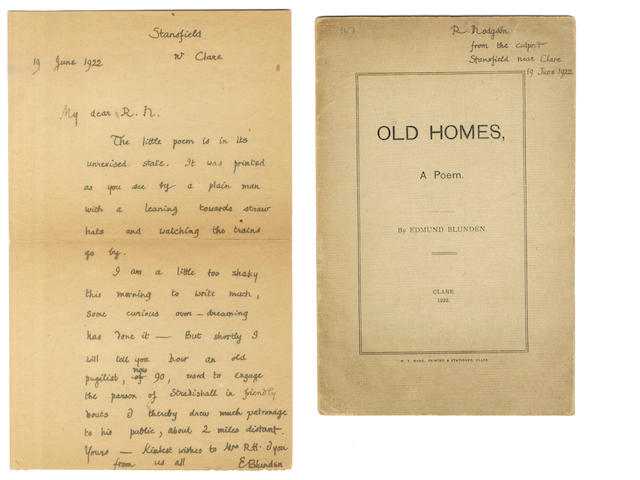 BLUNDEN (EDMUND) Autograph letter signed, to his friend and fellow poet Ralph Hodgson, 1922; and an inscribed copy of 'Old Homes' (2)