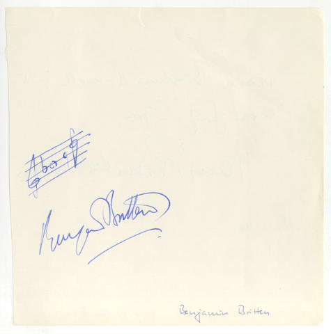 BRITTEN (BENJAMIN) Autograph musical quotation signed, [c.1960]