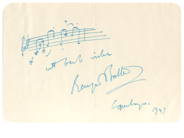 "BRITTEN (BENJAMIN) Autograph musical quotation Signed:comprising the opening bar of the ""Prologue"" to Peter Grimes, 1947"
