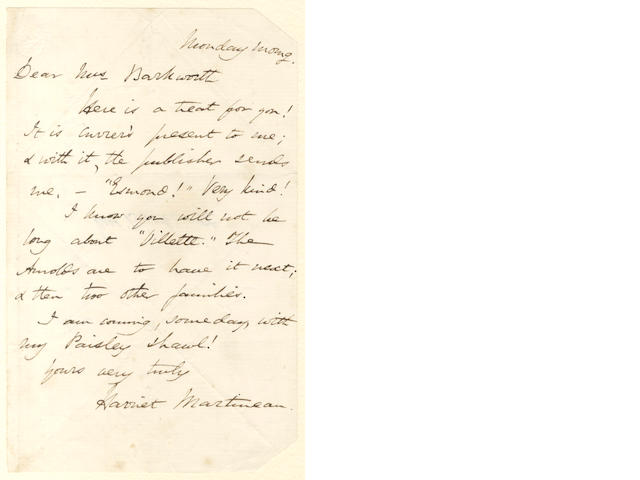 BRONTË and MARTINEAU Autograph letter signed by Harriet Martineau, to Mrs [Julia Anne] Barkworth, enclosing Villette, [1853]