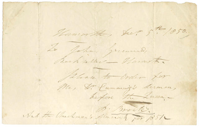 "BRONTË (REV PATRICK) Autograph letter signed (""P. Brontë""), to the Haworth stationer John Greenwood, 1850"
