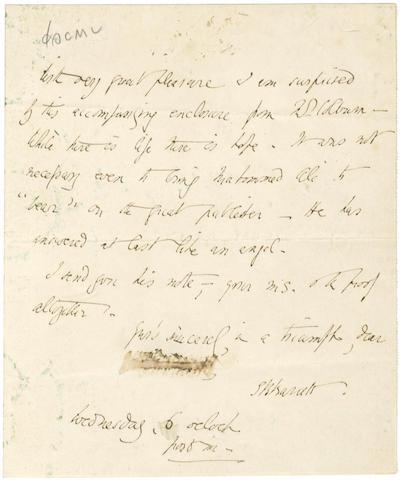 BROWNING (ELIZABETH BARRETT) Autograph letter signed, [1845]