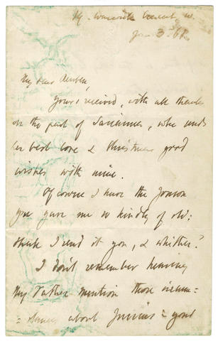 "BROWNING (ROBERT) Autograph letter signed, to ""My dear Reuben"", 1868"