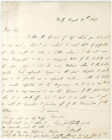 ARNOLD (THOMAS) Autograph letter signed, to Robert Baldwin, 1837