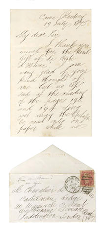 BARNES (WILLIAM) Autograph letter signed, to the Chevalier de Chatelain, 1875