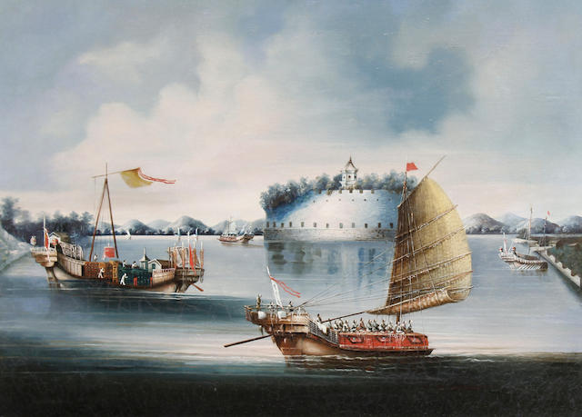 Anglo-Chinese School, late 19th Century A Macao Fort, Canton River