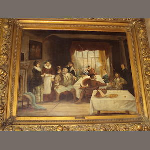 Continental School, (circa 1870) Dining room interior with figures seated around a table