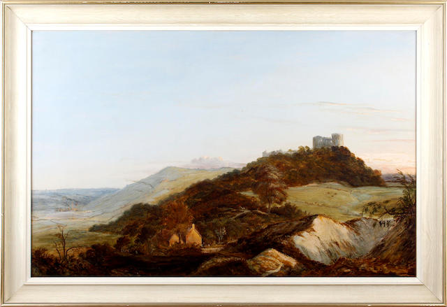 English School, Mid-19th Century Landscape with castle and factories