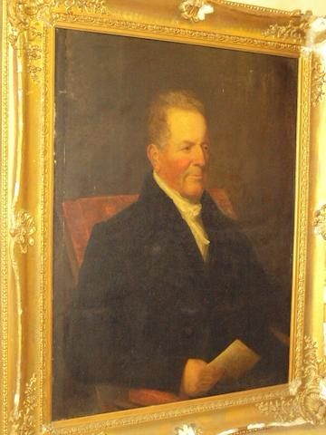 British School, (19th century) Portrait of a gentleman wearing a dark jacket and white stock and holding a letter
