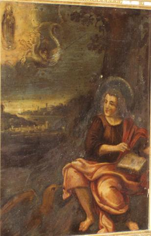 Flemish School, (circa 1600) St. John writing the book of revelations