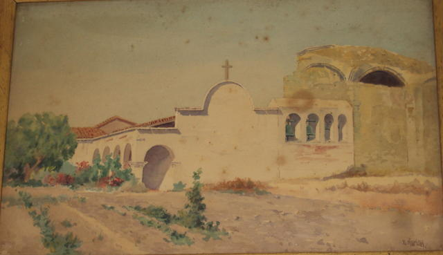 Attributed to Elmer Wachtel (American, 1864-1929) View of a church with garden and church bells, and another of the church garden with stone archways, possibly in Mexico, a pair