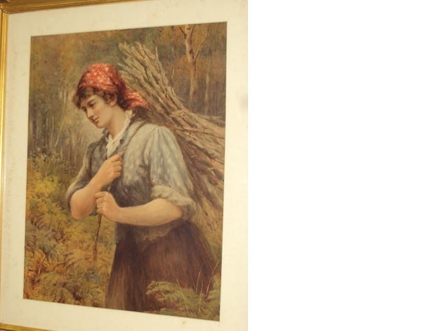 English School, (circa 1870) A young maid carrying a bundle of firewood, before woodland