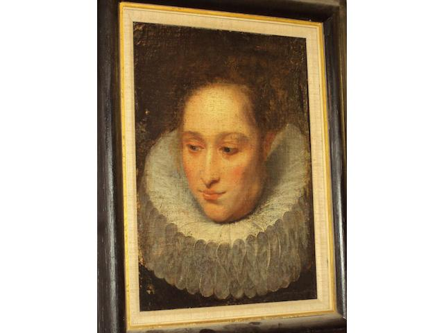Flemish School, (circa 1620-1640) Portrait of a lady wearing a white ruff collar