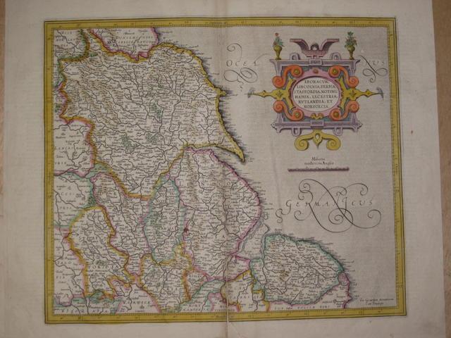 Gerhard Mercator (Flemish, 1512-1594) East Midlands and Yorkshire, regional map 'Eboracum, Lincolnia, Derbia, Staffordia, Notinghamia, Lecestria, Rutlandia, et Norfolcia'