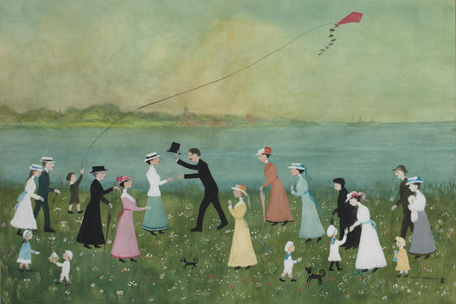 Helen Bradley (British, 1900-1979) Kite Flying 36 x 54 cm. (14 1/4 x 21 1/4 in.)