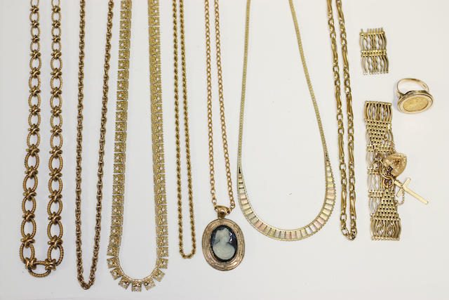 A collection of gold and yellow precious metal jewellery,