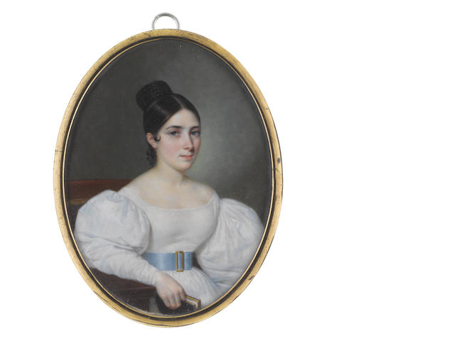 Emmanuel Flavien Chabanne (French, 1799-circa 1859) A Lady, seated, holding a book in her right hand, wearing white dress and pale blue belt with gold rectangular belt buckle, the braids of her dark hair wound in a high knot upon the crown of her head