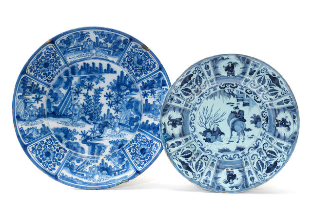 Two Dutch Delft dishes, circa 1730