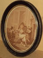After Angelica Kauffman 'Beauty and Prudence', engraving, by T.Ryder, circular, diam. 27.5cm, together with another, 'Summer' after Francis Wheatley, by Bartolozzi, engraving, together with another of elegant figures in an interior, plus mother and children in a cottage interior, colour print, plus another of mother and child, pencil and watercolour, plus a portrait miniature and silhouette of gentlemen, (7)