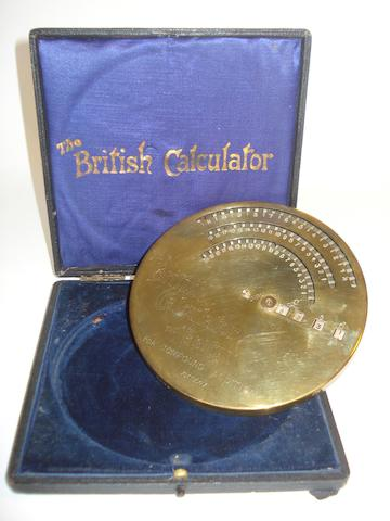 A Brical circular pin-wheel compound addition calculator,  English, circa 1910,
